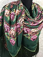 Большой Павлопосадский платок с бахромой и цветочным рисунком в зеленом цвете