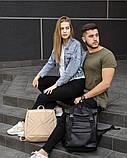 Мужской черный рюкзак ролл матовая эко кожа (качественный кожзам) городской, повседневный роллтоп, фото 8