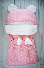 Конверт для малюків Вушка рожевий 5604+ TwinsBaby Україна