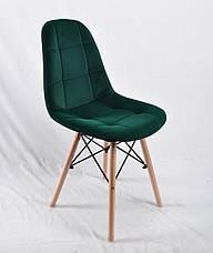 Cтул мягкий бархатный на деревянных ножках зеленый Peter для уютных гостиных, стильных кафе, фото 2
