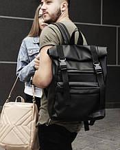 Мужской черный рюкзак роллтоп городской, офисный, для ноутбука 15,6 ролл, матовая эко-кожа