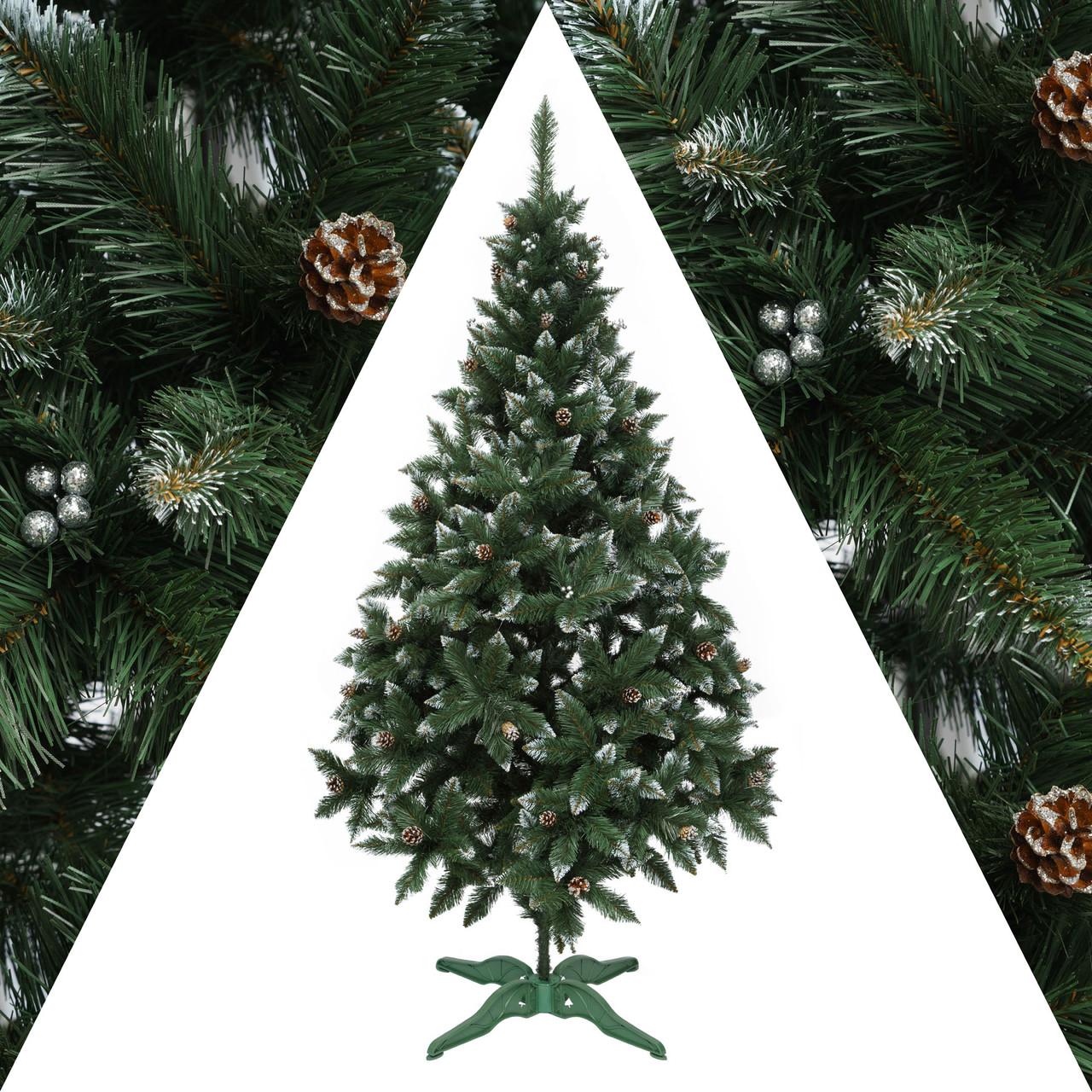 Ель Рождество 1.8м Элитная калина+шишки ель заснеженная с шишками
