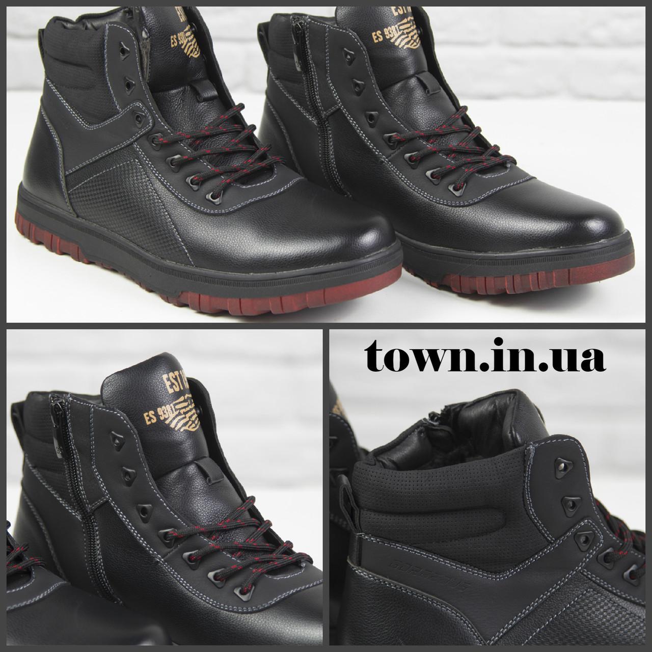Зимові чоловічі теплі черевики на хутрі Stylen Gard M9091-2 чорні