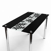 Стол обеденный из стекла модель Цветы рая черно-белый