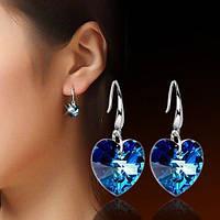 Сріблясті сережки Сваровскі-стиль 925 Серце, фото 1