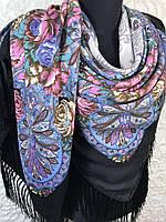 Шерстяной Павлопосадский платок с бахромой и цветочным узором