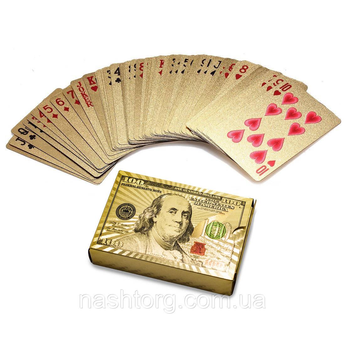 """Распродажа! Карты игральные """"Золотой Доллар"""" пластиковые игровые, колода игральных карт для покера (54 карты)"""