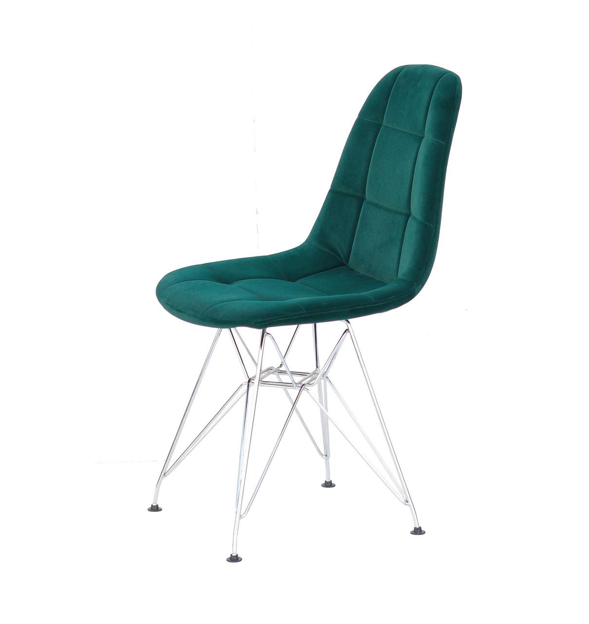 Зеленый стул бархатная обивка со стильными хромированными ножками Peter CH-ML