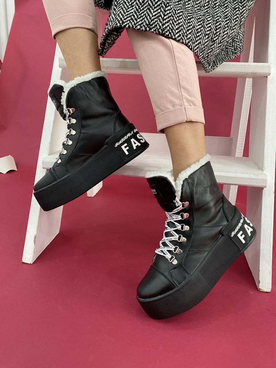 Ботинки женские зимние кожаные чёрные CrosSav 151