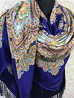 Синий Павлопосадский платок с бахромой и цветочным узором