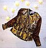 Р. 122-146 Дитяча блузка золотиста, новорічна коричнева в горошок