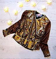 Р. 122-146 Дитяча блузка золотиста, новорічна коричнева в горошок, фото 1
