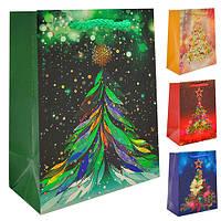 Пакет подарочный бумажный новогодний 11*6*14см (ТОЛЬКО ПО 12 ШТУК)