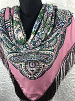 Розовый Павлопосадский платок с бахромой и цветочным народным орнаментом