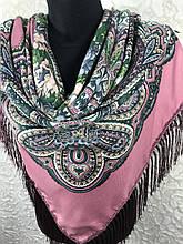 Рожевий Павлопосадский хустку з бахромою і квітковим народним орнаментом