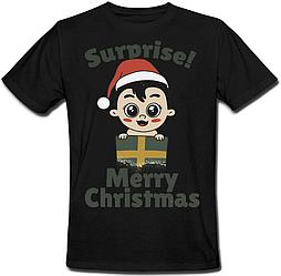 """Футболка """"Surprise! Merry Christmas"""" (чёрная)"""