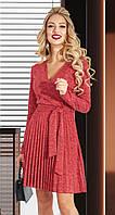Красное теплое короткое платье из ангоры на запах с юбкой плиссе (S, M)