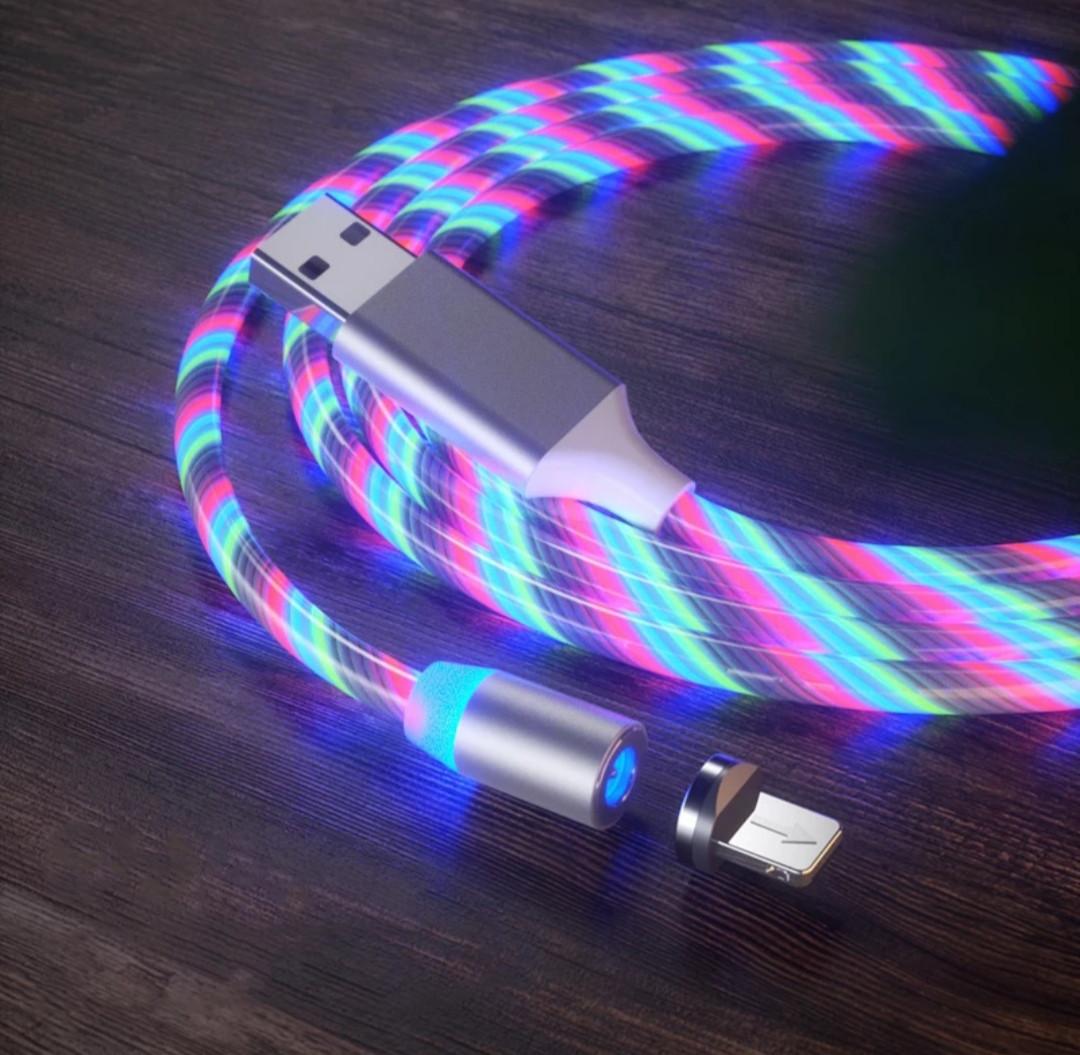 Магнитный кабель для зарядки   /USB 2A с подсветкой, 1 м