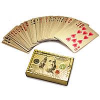 """Распродажа! Карты игральные """"Золотой Доллар"""" пластиковые игровые, колода игральных карт для покера (54 карты), фото 1"""