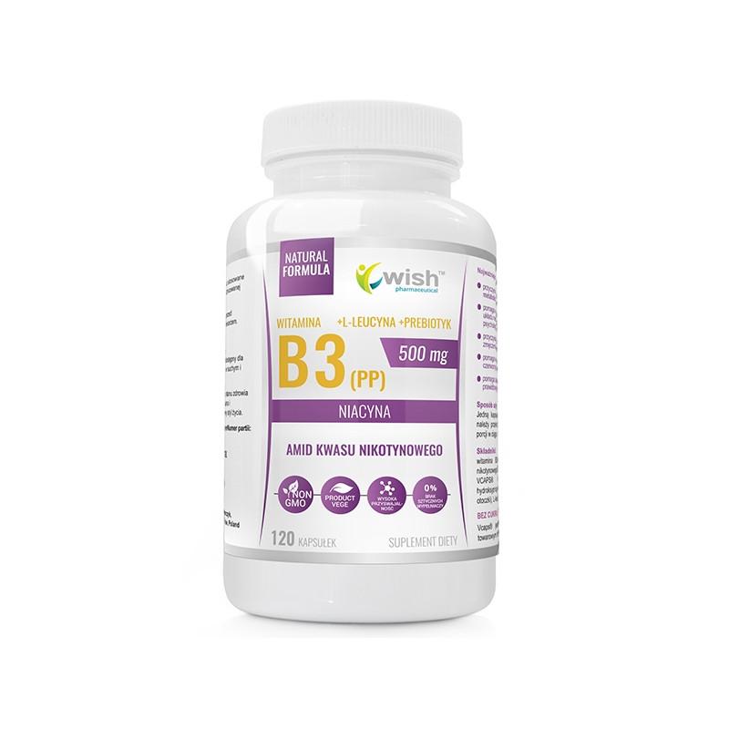 Вітамін B3 (PP) Ніацин + пребіотик, 500 мг 120 caps, Wish