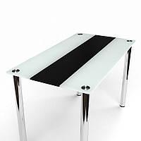 Стол обеденный из стекла модель Вектор черно-белый