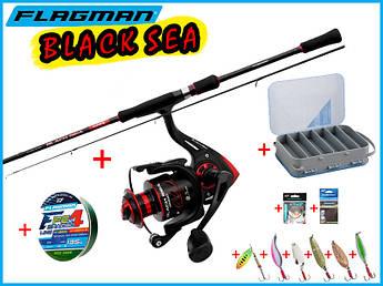 Рыболовный набор для ловли хищной рыбы Flagman Black Sea Set 12в1