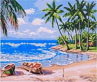 Картина раскраска живопись рисование по номерам на холсте Берег океана 40*50 см