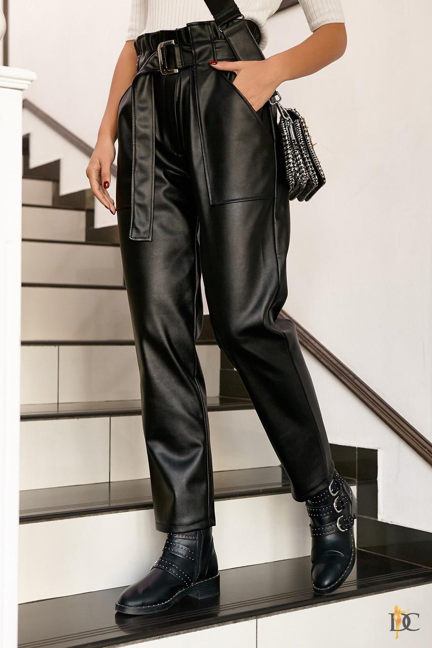 Кожаные брюки с поясом на высокой посадке с карманами сбоку (р. 42 - 48) 3112550