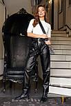 Кожаные брюки с поясом на высокой посадке с карманами сбоку (р. 42 - 48) 3112550, фото 4