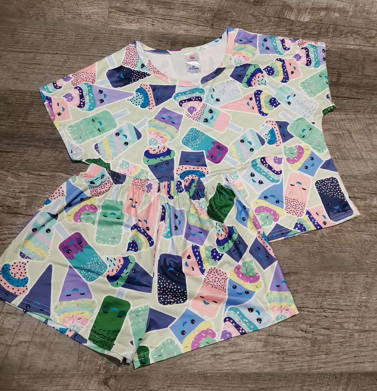 Молодежная пижама  шорты+ топик 65-3