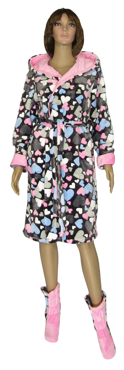 Халат женский махровый с двойным капюшоном и махровые сапожки 19079 18205-1 Сердечки вельсофт