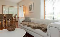 Двойная накидка на диван серого цвета из новозеландской овчины мериноса