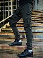 Штаны карго брюки мужские зимние теплые качественные оливковые Flash Intruder