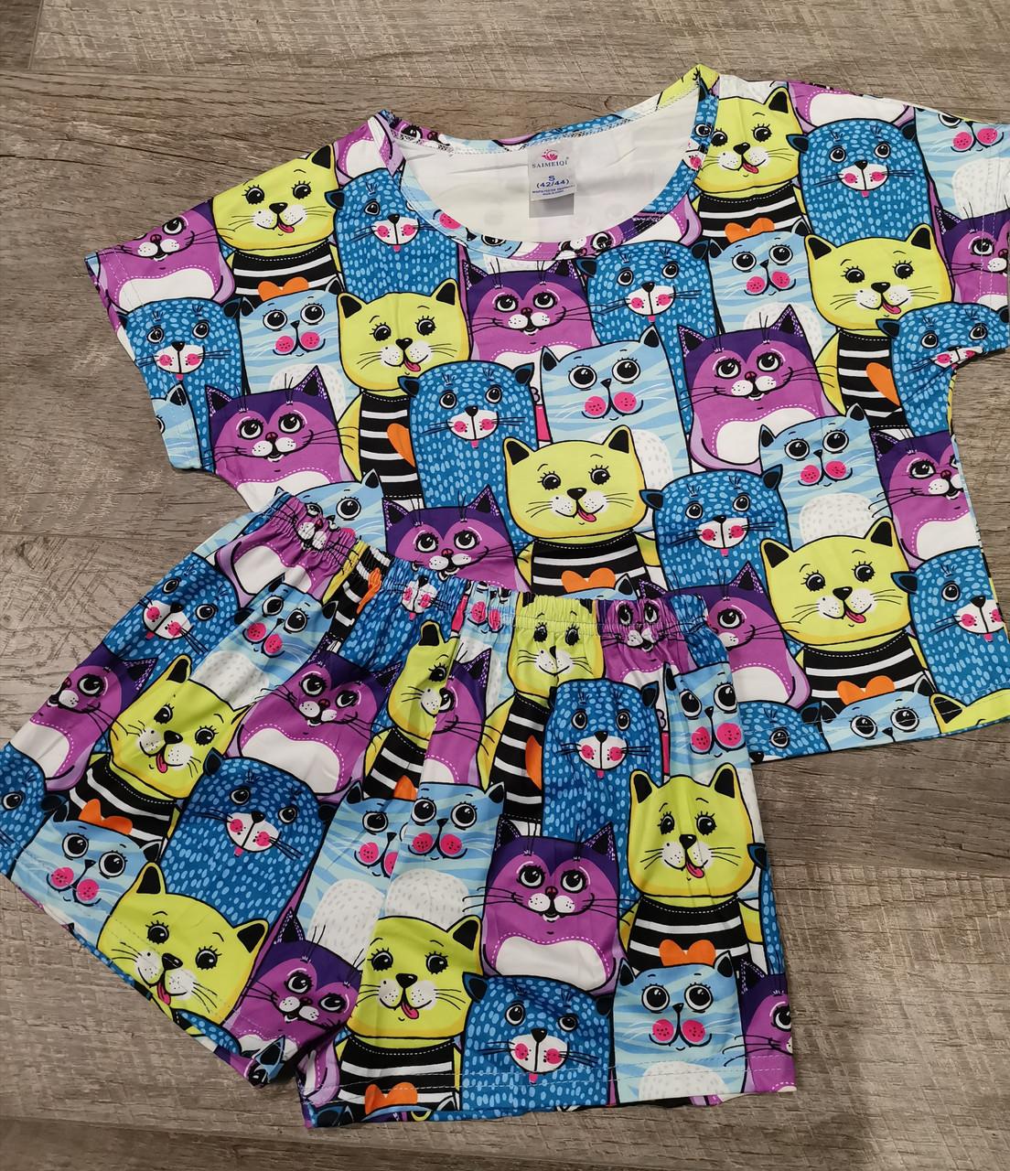 Молодежная пижама шорты + топик  30-5