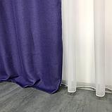 Сонцезахисні штори   Штори з мішковини   Готові штори з льону   100% захист від сонця   Фіолетові штори  , фото 5