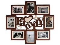 """Фоторамка """"Family"""" коричневая на 8 фото"""