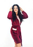 Женский двухцветный халат на запах в размере S, M, L, XL