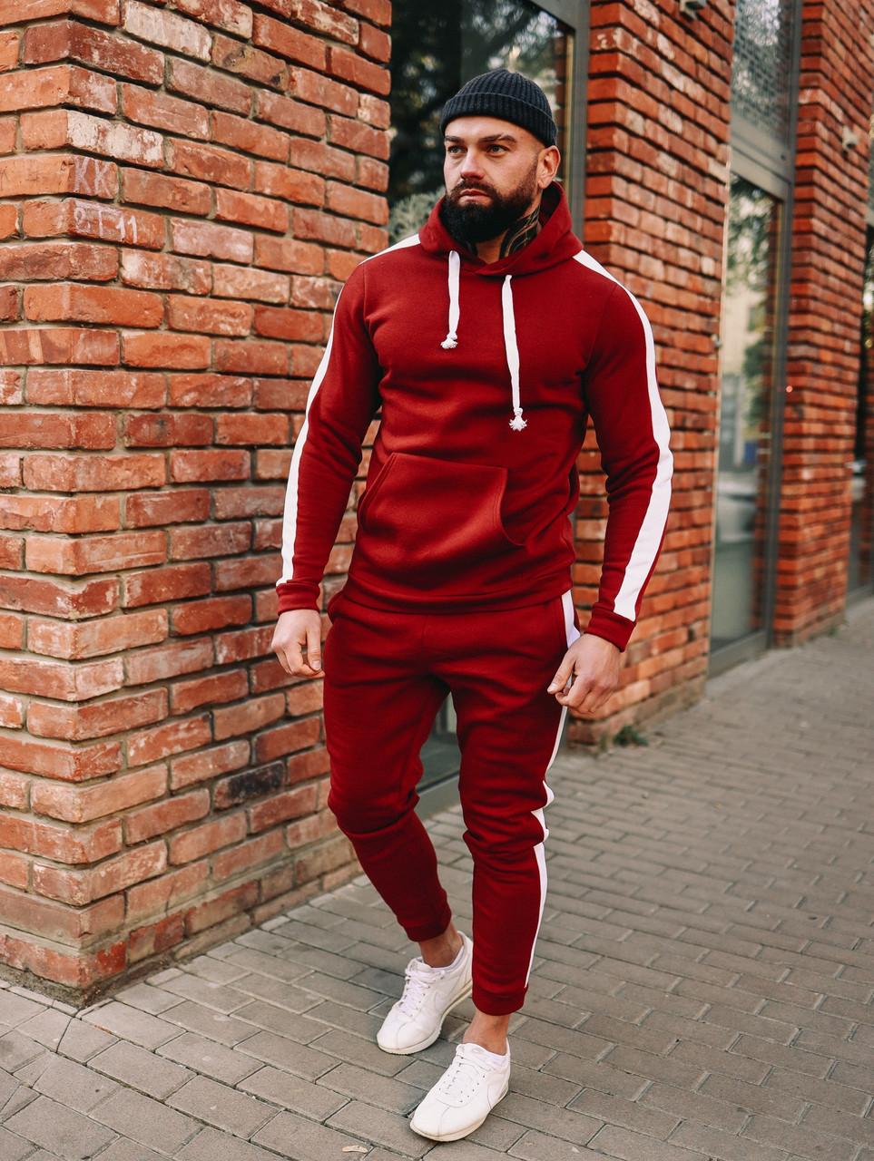 Зимовий червоний спортивний костюм з лампасами, спортивний костюм з лампасами