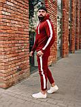 Зимовий червоний спортивний костюм з лампасами, спортивний костюм з лампасами, фото 2