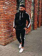 Зимний черный спортивный костюм с лампасами, спортивный костюм с лампасами