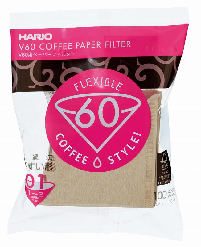 Бумажные бежевые фильтры для пуровера 01 Hario, 100 шт