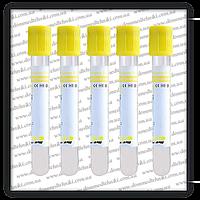 Вакуумная пробирка 13*75 мл., с гелем и активатором свертывания (желтая крышка)
