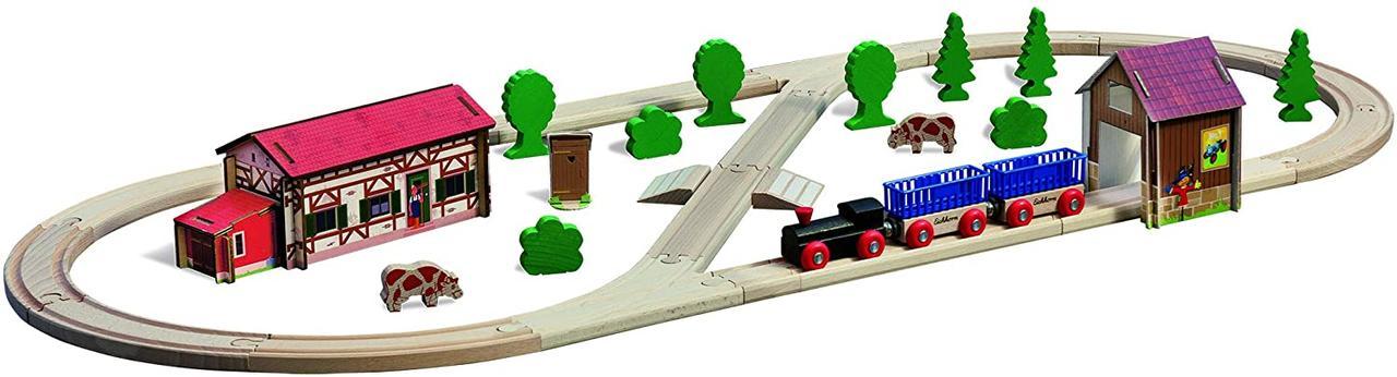 """Игровой набор Eichhorn """"Железная дорога. Путешествие на ферму"""", 41 элемент, длина 360 см, 100001268"""