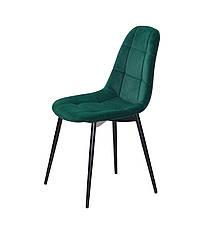 Бархатный зеленый стул на черных металлических ножках Peter ML для уютных гостиных, стильных кафе, фото 2