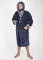 Мужской теплый халат с капюшоном в размере 46-60, фото 1