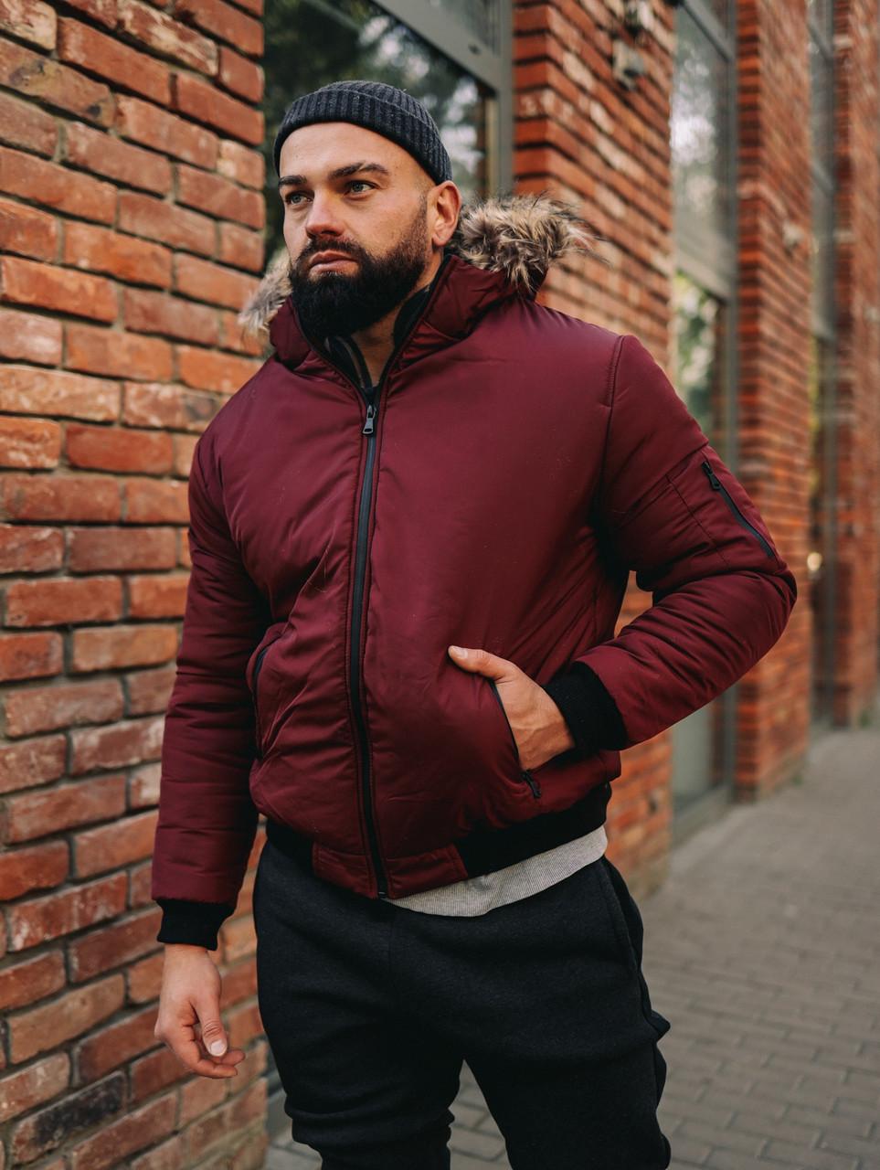Мужская зимняя бордовая куртка, Jacket Winter (bordo), короткая зимняя куртка
