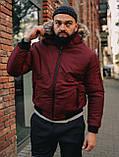 Мужская зимняя бордовая куртка, Jacket Winter (bordo), короткая зимняя куртка, фото 4