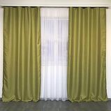 Сонцезахисні штори   Штори з мішковини   Готові штори з льону   100% захист від сонця   Оливкові штори  , фото 2