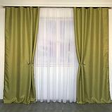 Сонцезахисні штори   Штори з мішковини   Готові штори з льону   100% захист від сонця   Оливкові штори  , фото 3