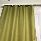 Сонцезахисні штори   Штори з мішковини   Готові штори з льону   100% захист від сонця   Оливкові штори  , фото 4